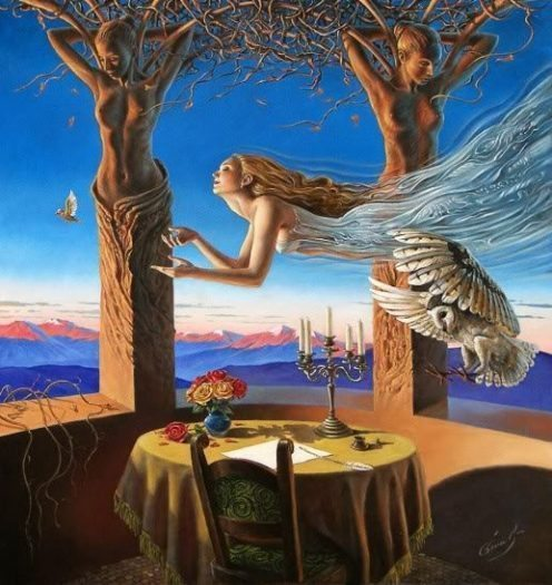 hüzün melek ağaç kadın sanat
