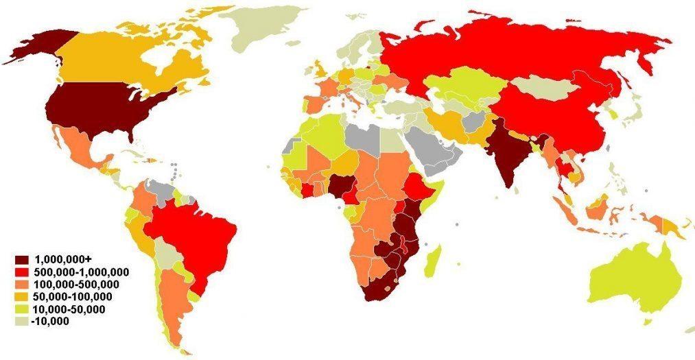 AIDS HIV dunya haritasi 2008