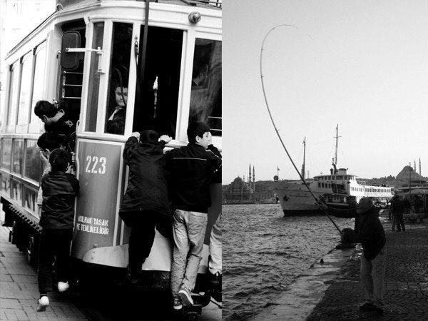 tramvay istanbul balıkçı insan