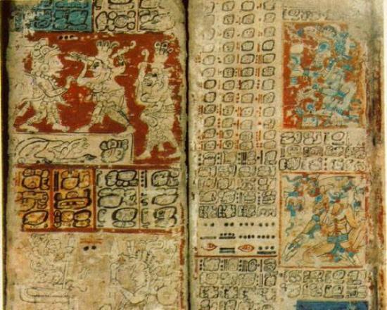 Chilam Balam kitaplarından bir örnek sayfa.