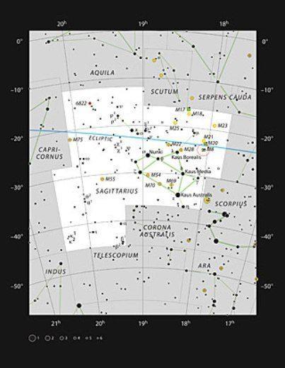 Messier 8'in yer aldığı Yay Takımyıldızı'da yıldız konumları