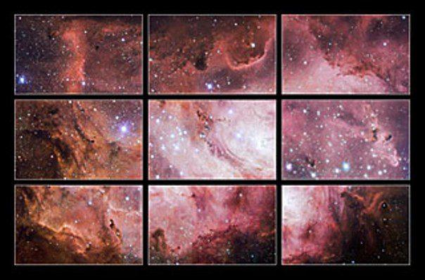 VST'nin elde ettiği Deniz Kulağı nebulasına ait görüntülerin oluşturduğu mozaik