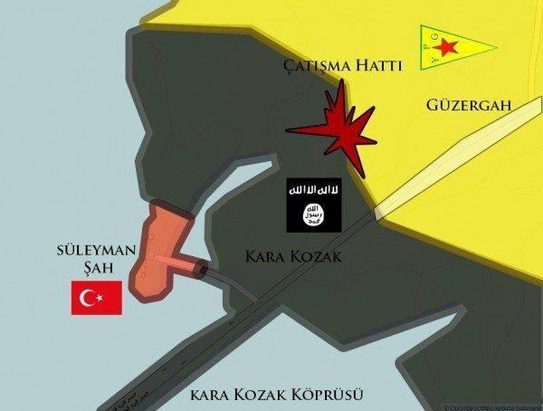 Süleyman Şah Karakolu Suriye bölgesi harita Kara Kozak Köprüsü IŞİD
