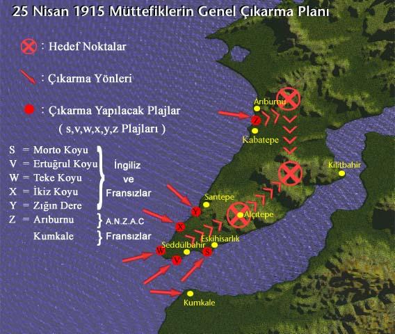 çanakkale savaşı kara harekatı harita gelibolu
