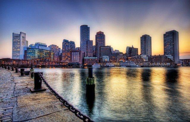 boston manzara marina deniz gün batımı