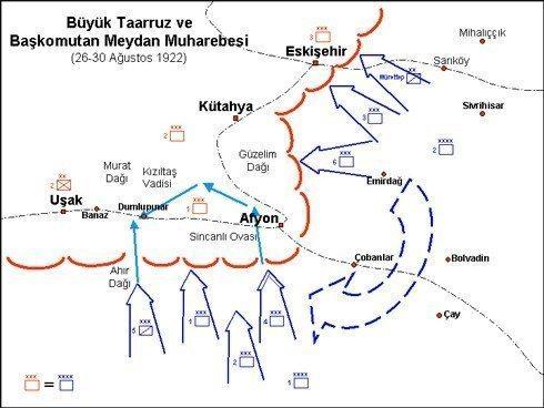 batı cephesi harita 30 ağustos büyük taarruz afyon kocatepe