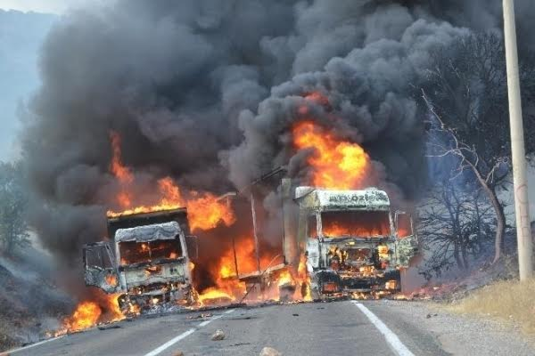 tunceli dersim iç güvenlik yasası olağanüstü hal ohal özel güvenlik bölgesi alanı terör pkk munzur kamyon tır yangın