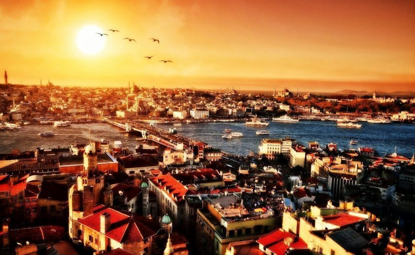 şehri istanbul gökdelenler gün batımı