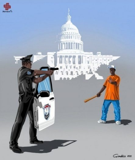 ABD amerika ferguson olayı gündüz aghayev global police illüstrasyonları polis