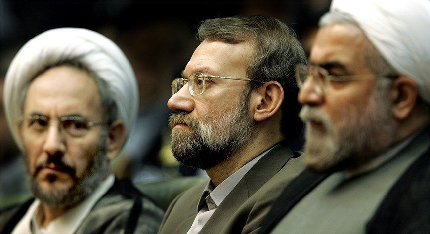 Iran's former Intelligence Minister Younesi, chief nuclear negotiator Larijani and former chief nuclear negotiator Rohani attend conference in Tehran