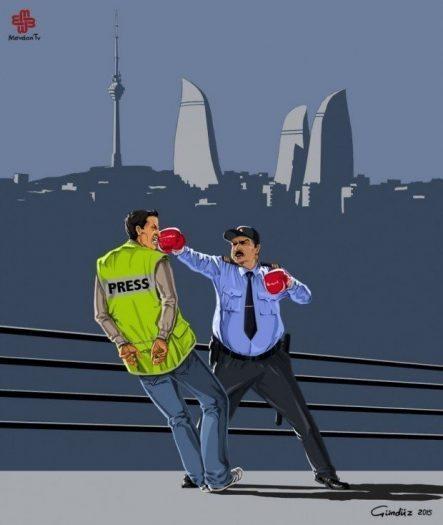 azerbaycan Gunduz Aghayev global police illüstrasyonları polis boks ringi bakü