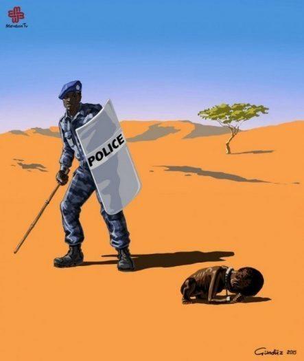 sudan polis açlık çocuk gündüz aghayev global police illüstrasyonları