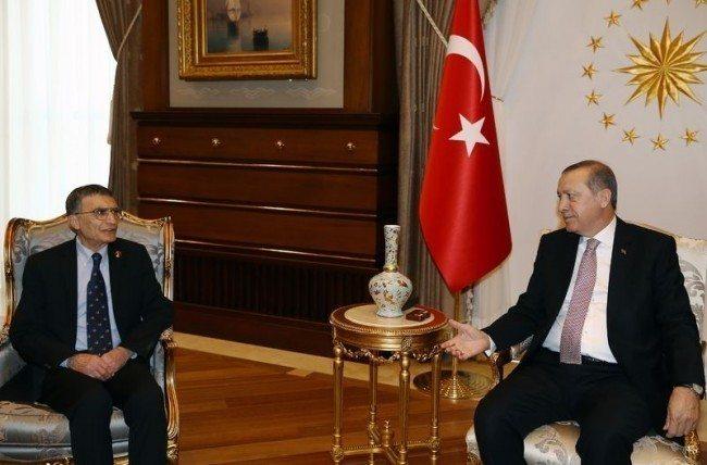 aziz sancar cumhurbaskani erdogan ile aksaray cumhurbaskanligi sarayinda