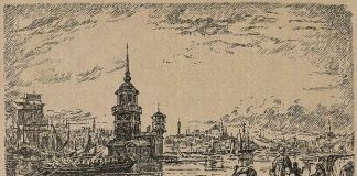 1828 İstanbul Kız Kulesi Salacak sahilinden denize girenler - Gravür: Sabiha Rüştü Bozcalı