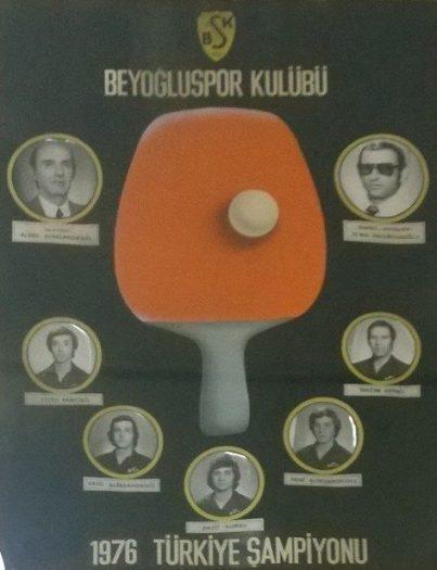 beyoğluspor kulübü masa tenisi pinpon 1967 türkiye şampiyonu