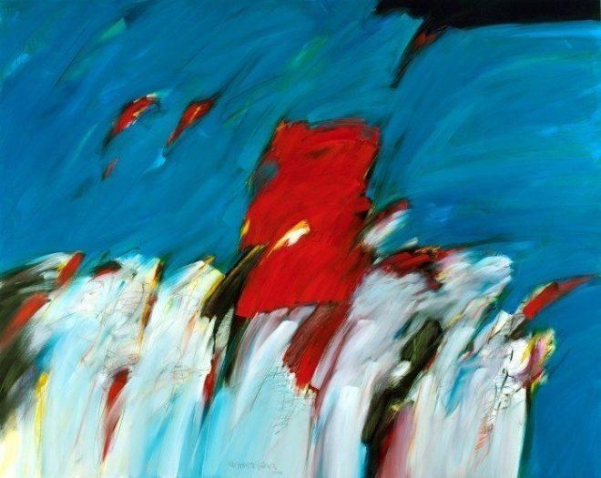 Mehmet G++ler. Sahilde, 2014, tuval-ya-ƒl-¦boya, 200x250 Cm.