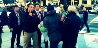 Cumhurbaşkanı Erdoğan'ın korumaları Washington'daki protestoculara anlamsız bir şekilde bağırarak engel olmaya çalıştı.