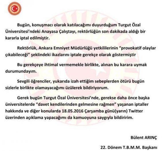 bülent arınç turgut özal üniversitesi anayasa çalıştayı konuşma yapması yasaklandı mı