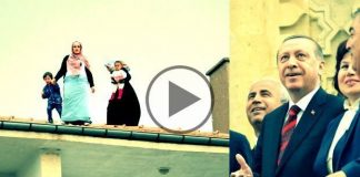 Erdoğan'ı görmek için bebekleriyle çatıya çıktılar