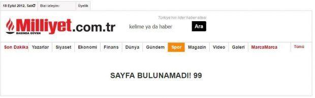 Milliyet'in girdiği Can Dündar haberine ilişkin önbellek kayıtları: