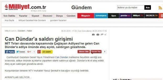 milliyet gazetesi can dündar haberini sildi