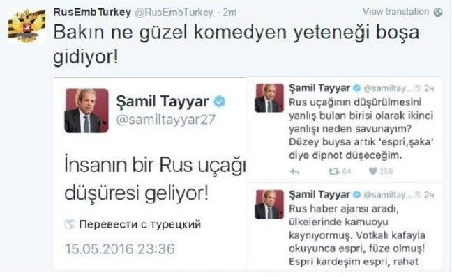rusya'dan espirili yanıt Şamil Tayyar