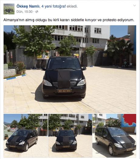Osmaniye'nin Düziçi İlçe Belediye Başkanı AK Partili Ökkeş Namlı, Ermeni soykırımı yasa tasarısını onaylayan Almanya'yı protesto etmek için Alman malı makam aracının armasını siyah örtüyle kapatıp, kent meydanında bekletti.