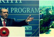 """Cumhurbaşkanı Erdoğan, yaptığı konuşmada Toplu Kışlası'nı işaret ederek """"Taksim Gezi Parkı'na o tarihi eseri inşa edeceğiz"""" dedi."""