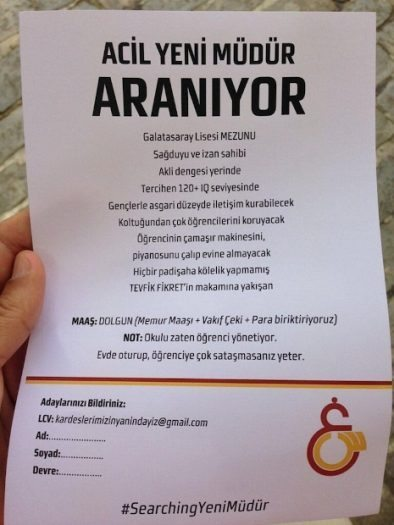 Galatasaray Lisesi pilav gününde'müdür aranıyor' ilanı