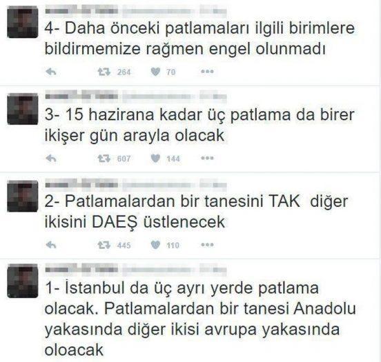 Twitter'dan İstanbul'da 3 saldırı olacağını yazdı