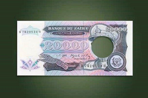 diktatör joseph mobutu delik banknot paralar