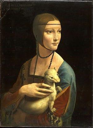 Leonardo da Vinci'nin Kakımlı Kadın (The Lady with an Ermine) adlı tablosu, Krakow'da Wawel Kalesi'nde sergilenmektedir.