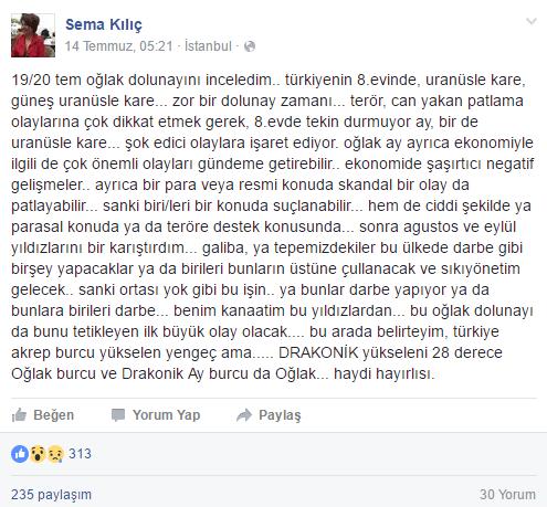 İşte Astrolog Sema Kılıç'ın 14 Temmuz'da Facebook sayfasından paylaştığı analiz...