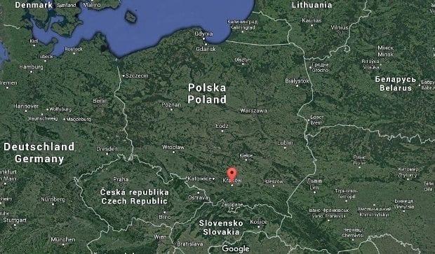 krakow polonya harita