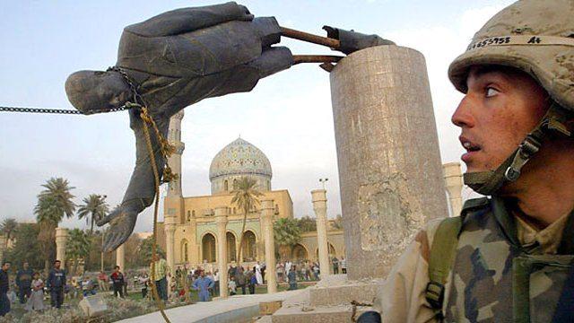 saddam hüseyin heykelinin yıkılması