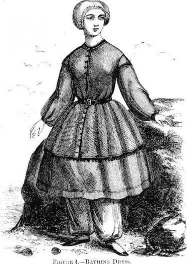 1858'lerde İngiliz kadınlarının yüzme kıyafeti