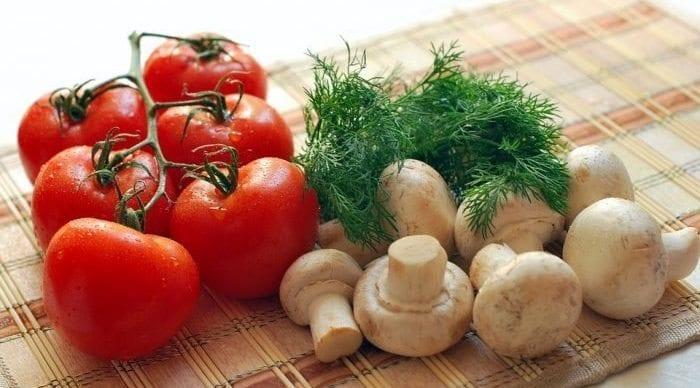 vejetaryen domates mantar dereotu