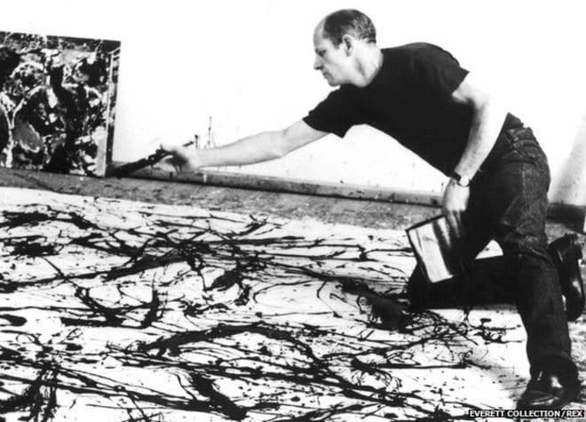 Jackson Pollock, Atölyesinde Çalışırken
