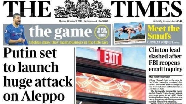 İngiltere basını: 31 Ekim 2016 basın özeti