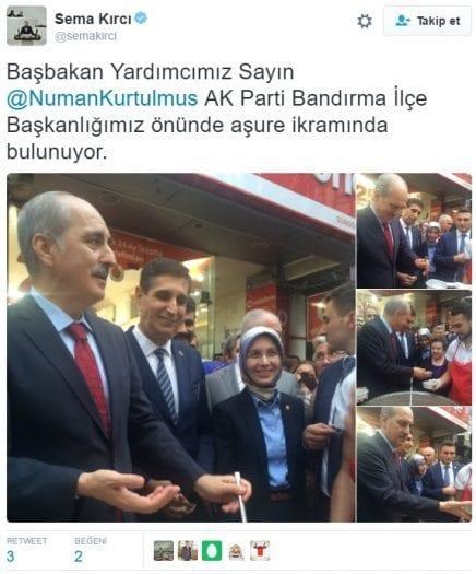 Balıkesir Milletvekili Sema Kırcı'nın Twitter hesabı üstünden Başbakan Yardımcısı Numan Kurtulmuş'un Bandırma'da aşure dağıtırken çekilen fotoğrafları