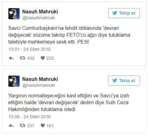 Nasuh Mahruki ilk açıklamayı Twitter'dan yaptı