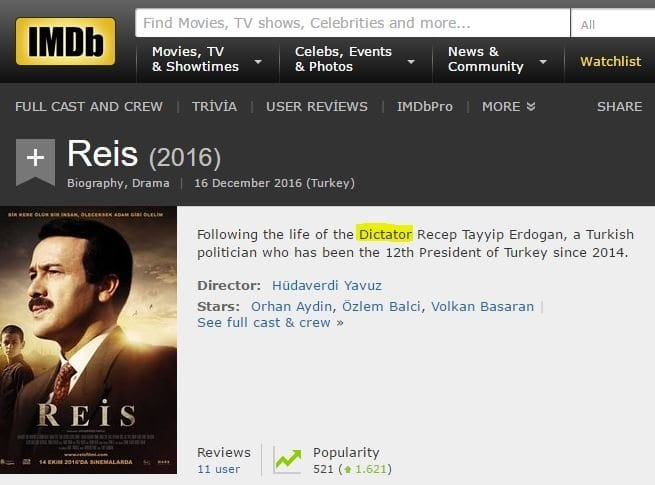 imdb reis filmi diktatör açıklaması