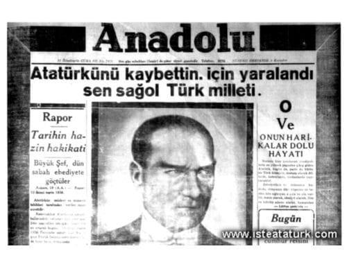 11 kasım 1938 gazete manşetleri atatürk 10 kasım