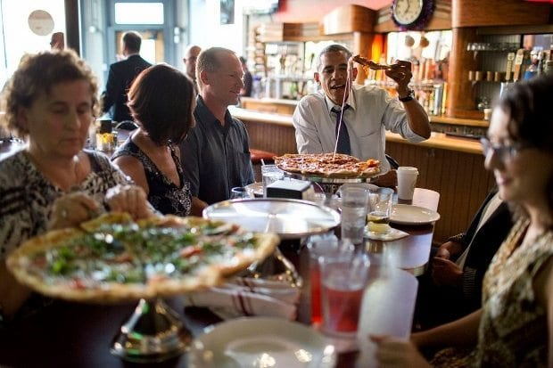 july-8-2014-president-barack-obama-shares-a-pizza-dinner-with-individuals-who-wrote-letters-to-him-at-the-wazee-supper-club-in-denver-colo-620x413