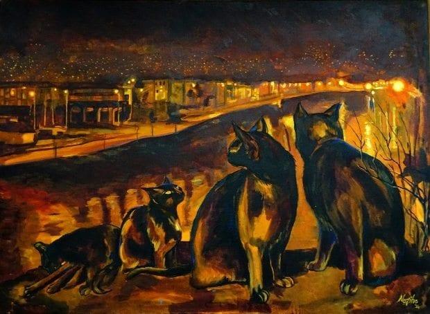 Resim sergisi: Metropol Sakinleri - Nezihe Karakaya kediler şehir