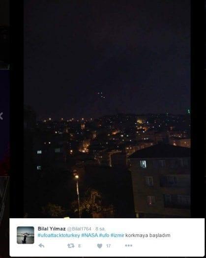 Ufo görüntüleri dün gece Twitter'daydı