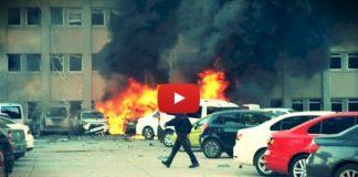 Video: Adana Valiliği otoparkında patlama olay yerinden görütüler