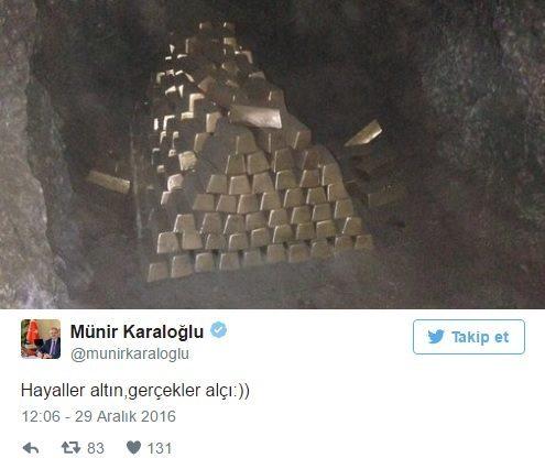 """Vali münir karaloğlu resmi Twitter hesabından bir mağara içinde çekilmiş külçe altın fotoğrafı ile """"Hayaller altın, gerçekler alçı"""" mesajı paylaştı."""