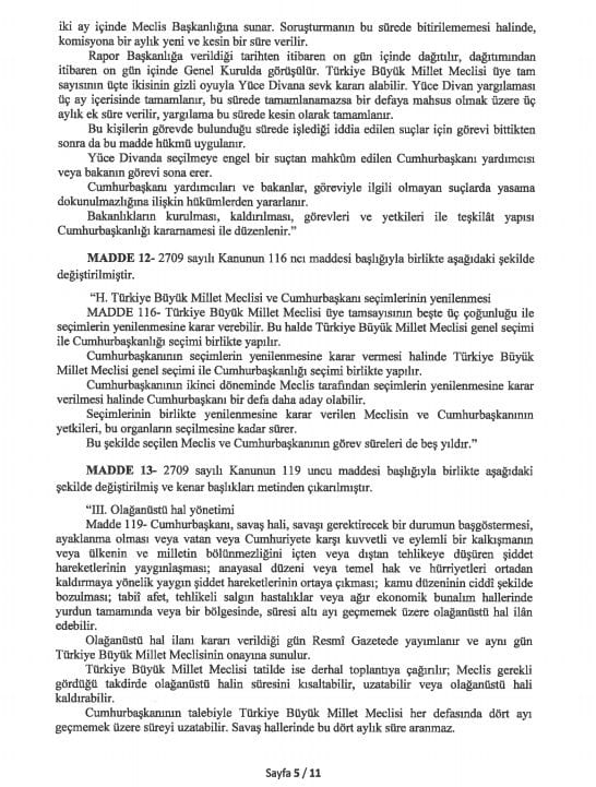 yeni anayasa değişikliği tam metni sayfa 5