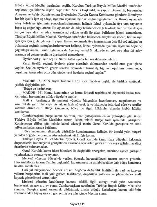 yeni anayasa değişikliği tam metni sayfa 7